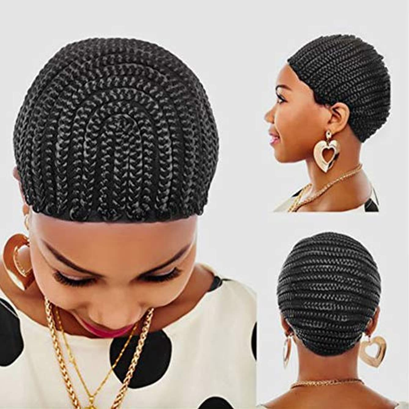 FASHION LADY 1 PC Braided Cap Crochet Braided Wig Caps, Cornrows Cap for Easier Sew in Hair Weave Black Color Braiding Wig Weaving Caps with Braids for Making Wig