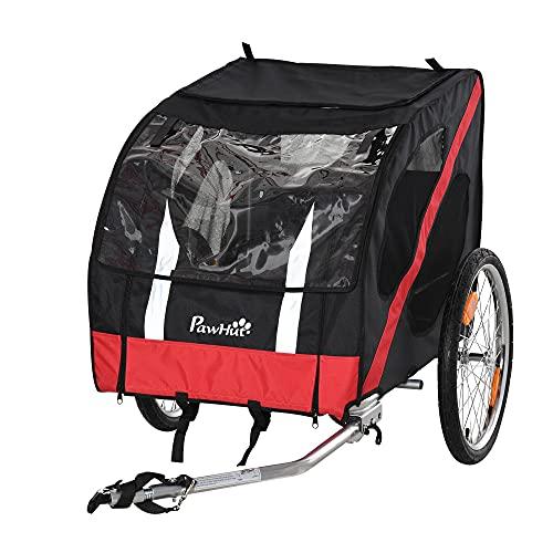 Pawhut Hundeanhänger Fahrradanhänger Hundetransporter geländegängig Hunde Fahrrad Anhänger Wetterfestes Oxford-Gewebe Stahlrahmen 145 x 80 x 80 cm Schwarz+Rot