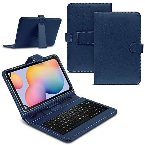 Tablet Hülle kompatibel für Samsung Galaxy Tab A7 2020 Tasche Tastatur Keyboard QWERTZ Schutzhülle Cover Standfunktion USB Schutz Hülle, Farben:Blau