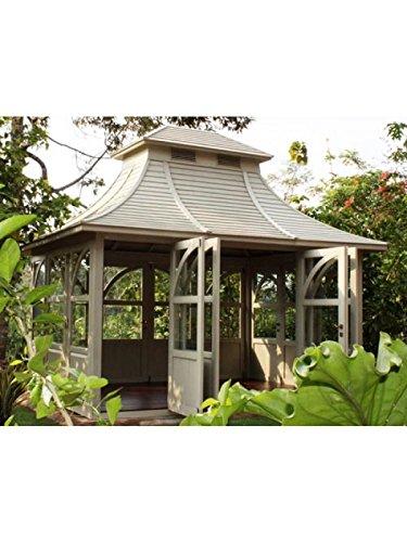 Casetta da giardino Queen House Gazebo in legno di mogano, capanno degli attrezzi, colore: verde menta