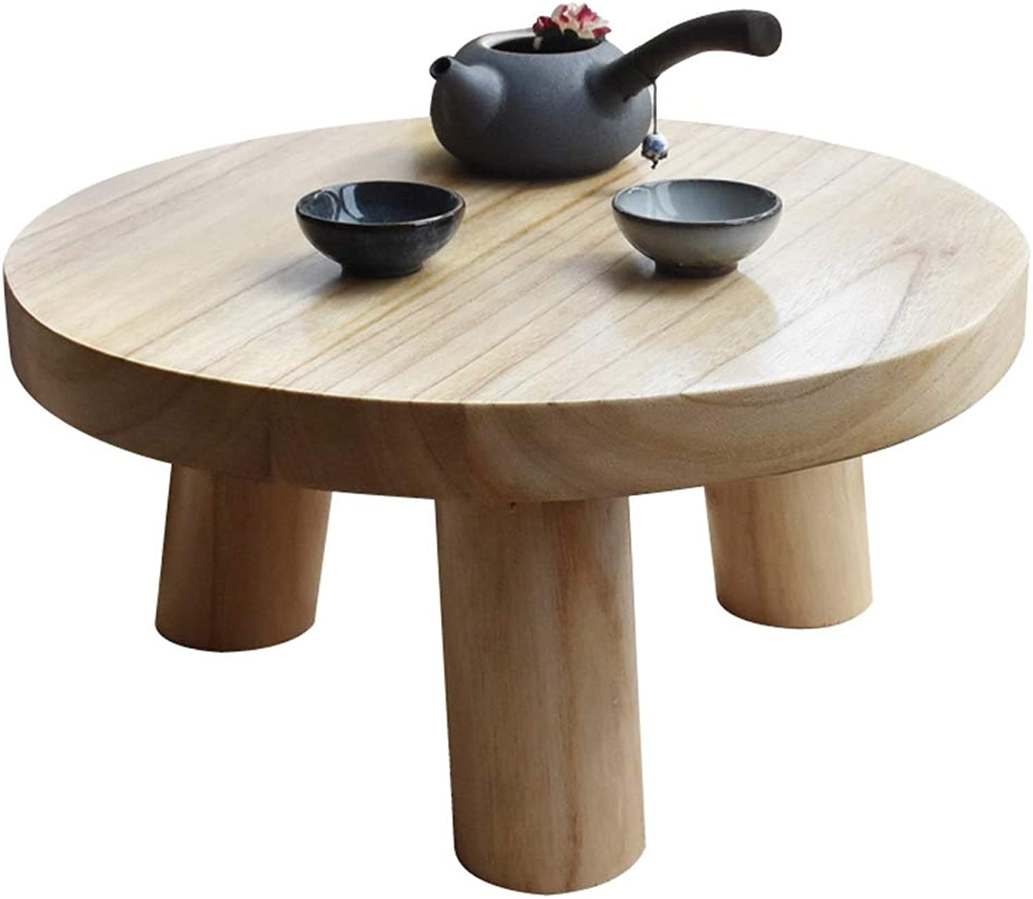 Wooden Mini Coffee Table Bay Window Tatami Simple Short End Table Round