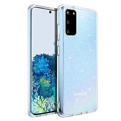 BENTOBEN Samsung Galaxy S20 Hülle Transparent Glitzer, Handyhülle Samsung Galaxy S20 Slim Case Anti Gelb Soft Silikon Cover dünn Schutzhülle Hülle für Samsung Galaxy S20 5G (6.2\'\') Bling Transparent