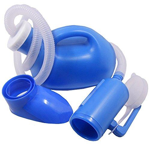 YUMSUM Unisexo femenino masculino cama Urinario común para ir al baño Pee Colector de la botella 1000ml viaje WC con 1M de la manguera (S, Azul)