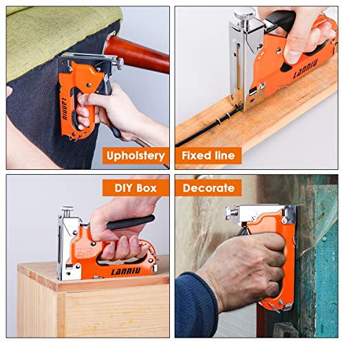 LANNIU Staple Gun, Heavy Duty Staple Gun with Remover, 4 in 1 Staple Gun with 4000 Staples for Upholstery, DIY, Fixing Material, Decoration, Carpentry, Furniture Photo #4