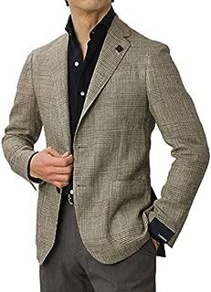 LARDINI EASY シルク リネン グレンチェック柄 3釦段返り シングル ジャケット