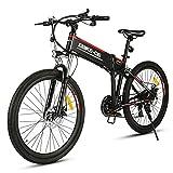 VIVI Bicicletta Elettrica Pieghevole 350W/250W Bici Elettriche, Bici Elettrica per Adulti, Mountain Bike Elettrica con Ruota Integrata da 26', Batteria da 8 Ah, Velocità di 32 km/h (nero rosso)