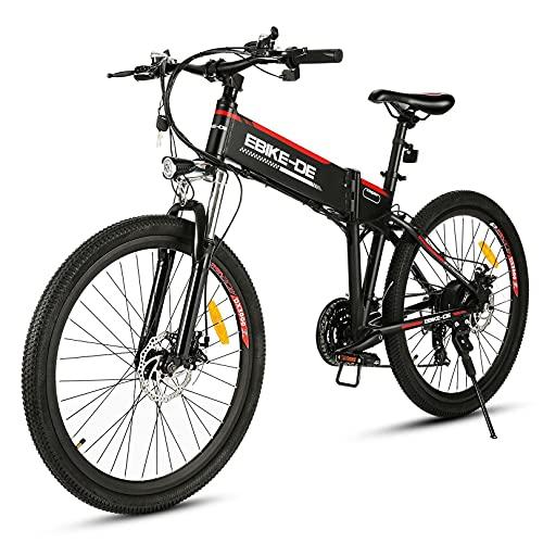 """VIVI Bicicletta Elettrica Pieghevole 350W/250W Bici Elettriche, Bici Elettrica per Adulti, Mountain Bike Elettrica con Ruota Integrata da 26"""", Batteria da 8 Ah, Velocità di 32 km/h (nero rosso)"""