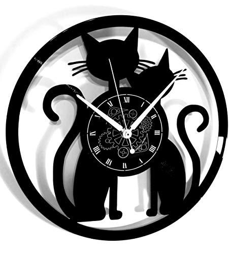 Instant Karma Clocks Horloge Murale en Vinyle idée Cadeau Vintage Faite Main Couple Chats Chats