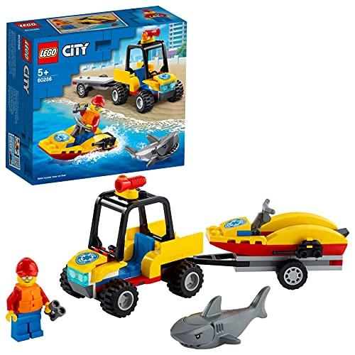 LEGO 60286 City Strand-Rettungsquad Spielzeug, mit Wasserscooter, Rettungsschwimmer Minifigur und Hai Figur