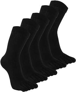 Calcetines con Dedos de Algodón para Hombres Calcetines Invierno 5 Dedos Calcetines Atléticos Corriendo Calcetines de Deportes Colegios Negocios, Talla 38-44, 3/5 pares