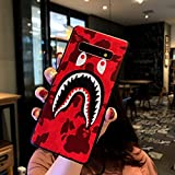 Kplvet Galaxy S10 Case,Embossed Craft Non Faded Durable Coloring Flexible Soft Slim Thin Case for 6.1 Samsung Galaxy S10,Street Fashion Basic Protective Phone Cover (Red Shark)