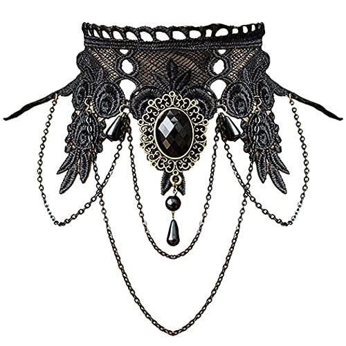 Aniwon Girls Elegant Lace Gothic Choker Tattoo Nacklace with Rhinestone Pendant