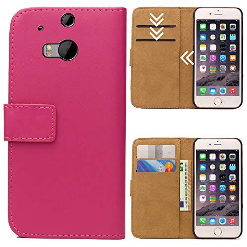 Roar Handytasche für HTC One M8, Flipcase Tasche Schutzhülle Handyhülle für HTC One M8 Bookcase Wallet mit Magnet, Pink