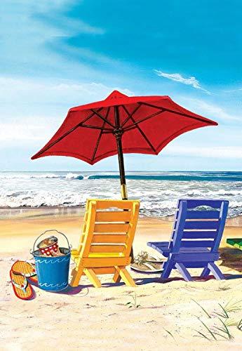 Bandera de jardín de Bienvenida Un día en la Playa Bandera de jardín de Verano Sillas de Playa Sombrilla Durable de Doble Cara para Porche Granja Decorativa 12.5 x 18 Pulgadas
