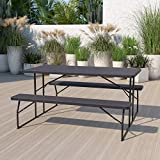 Flash Furniture Insta-Fold Charcoal Wood Grain Folding Picnic Table and Benches