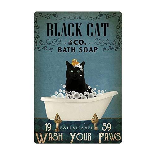 Black Cat Poster Tin Logo Classic Black Cat Bath Soap Wash Your Paws Home Bathroom Bar Coffee Shop Wall Decoration 12x16 Inches Retro