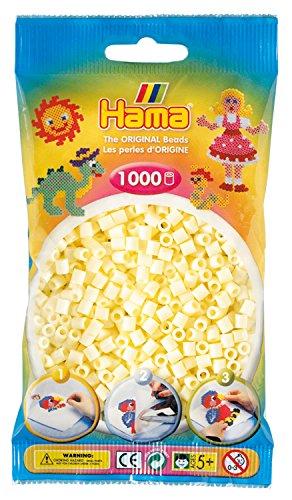 Hama Perlen 207-02 Bügelperlen Beutel mit ca. 1.000 Midi Bastelperlen mit Durchmesser 5 mm in creme, kreativer Bastelspaß für Groß und Klein