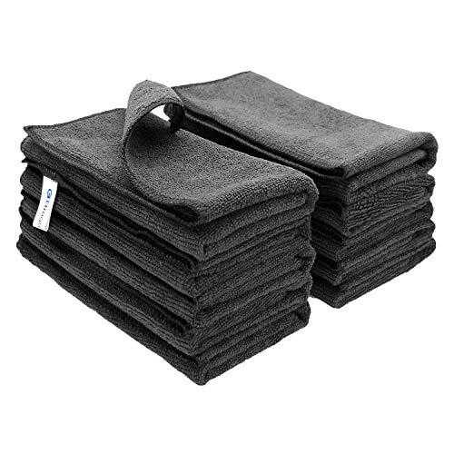 Mikrofaser-Reinigungstücher Fusselfrei Mikrofaser Handtücher Geschirrtücher Auto Reinigungstuch für Polieren Waschen Abstauben (40cm * 30cm Schwarz 10 Stück)