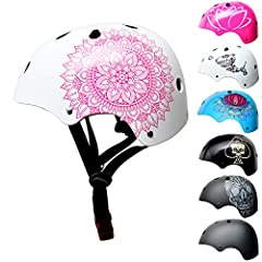 Kask Jarmuzyk BMX - Kask skaterski - Kask rowerowy - Męski kask dla chłopców & dziecięcy, biało-różowy, rozmiar S (53 - 55 cm), Mandala