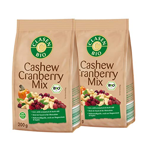 2x CLASEN BIO Cashew-Cranberry Mix Nussfruchtmischung zum Knabbern - 200 g