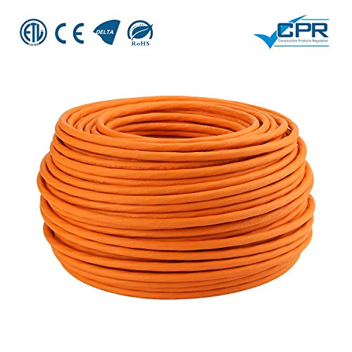 LW Electronic Highquality Verlegekabel Cat7 100m Gigabit LAN Kabel Patchkabel Schirmung Netzwerkkabel S/FTP PIMF 1000 MHz Cat7 4x2xAWG23 LSZH Verkabelung LAN Kabel Datenkabel Orange Rohkabel