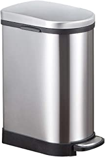 ZXJshyp Stainless Steel Trash Can Anti-Fingerprint Creative Trash Bin Fashion Pedal Rubbish Bin Home Living Room Kitchen P...