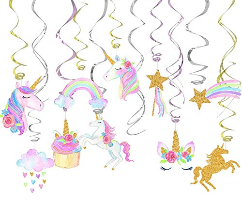 Guolz Unicorn Party Supplies Hanging Swirls for Birthday Party Decorations,Unicorn Theme Party Favors(30 Count)