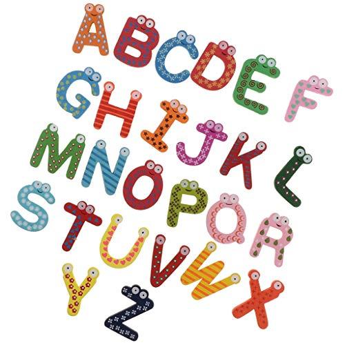 F Fityle Dibujos Animados Letras Magnéticas a-Z Alfabeto Imanes de Nevera de Madera Juguetes Educativos para Niños Regalos