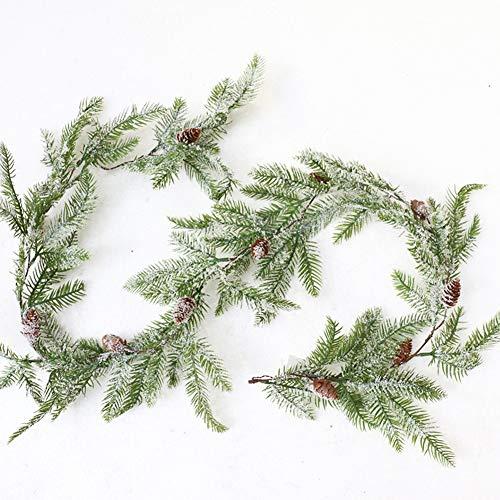 Guirnalda navideña con conos de pino, Guirnalda De Pino Artificial Flor De Navidad Guirnalda de Navidad Decoración artificial Aguja de pino Guirnalda de verdor para el hogar Decoración navideña
