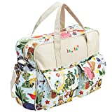 MyGift Fashion'Mommy Bag' Jungle Animals Top Handle Travel Baby Bag/Diaper Tote w/Changing Pad, Beige