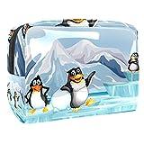 Bolsa de maquillaje de viaje, bolsa de maquillaje, organizador para mujeres y niñas, lindos tres pingüinos antárticos en hielo
