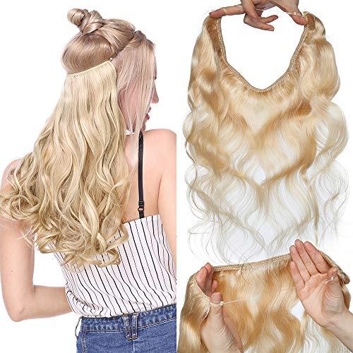 TESS Haarteile Echthaar Extensions günstig 1 PCS Remy Haarverlängerung mit Draht Haar Extensions Gewellt 16