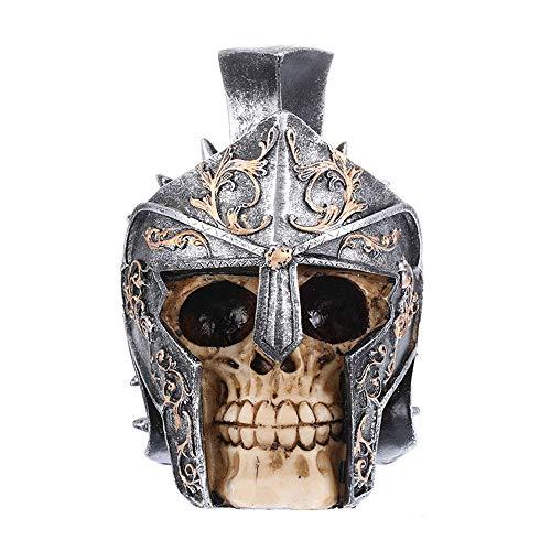 VOANZO Antiker Ritter Silber – gemusterter Helm Totenkopf Menschlicher Kopf Statue für Halloween, Bar, Zuhause, Tischdekoration