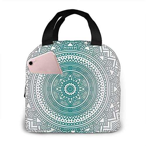 antspuent Grey and Teal Mandala Lunch Bag Insulated Lunch Box Tote for Women Men Adult Kids Teens Boys Teenage Girls