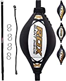 RDX Double End Speed Ball Maya Hide Leather Boxing Ball Dodge Speed Bag Punching MMA Training Workout Floor to Ceiling Rope
