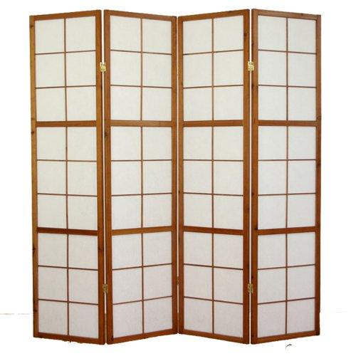 PEGANE Biombo japonés Shoji de Madera Castaño Oscuro 4 Paneles