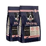 Marca Amazon - Lifelong Alimento seco completo para perros de razas medianas y grandes,con salmón fresco, receta sin cereales - 5 kg * 2