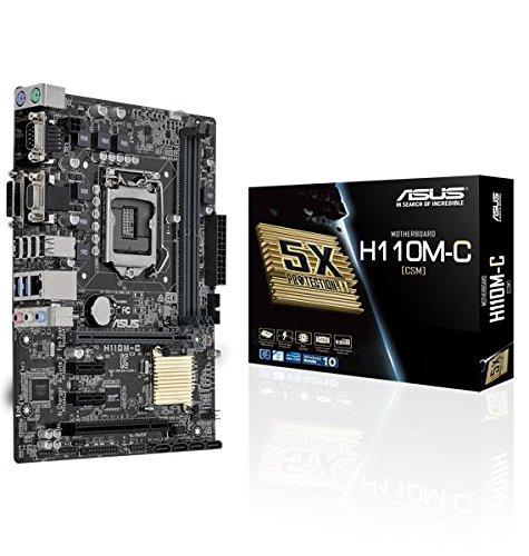 Asus H110M-C/CSM Mainboard Sockel 1151 (µATX, Intel H110, 2x DDR4 Speicher, 4x SATA 6Gb/s, 2x USB 3.0, 4x USB 3.0, PCIe 3.0)