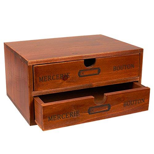 Schubladenbox mit 2 Fächern von Juvale– Mini-Kommode aus Holz, Aufschrift auf Französisch– Tischorganizer für Bürobedarf, Krimskrams, Kosmetik - Braun, 24,7 cmx 17,8 cmx 12,7cm