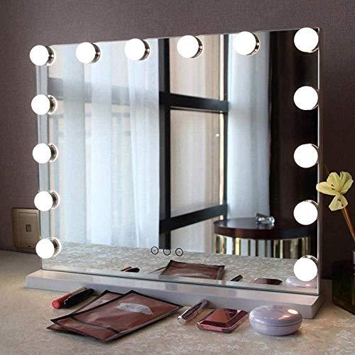 HFFFHA Espejo de Maquillaje Estilo Hollywood con Luces Espejo de tocador cosmético Grande con 3 Modos de luz 50x42CM para el hogar