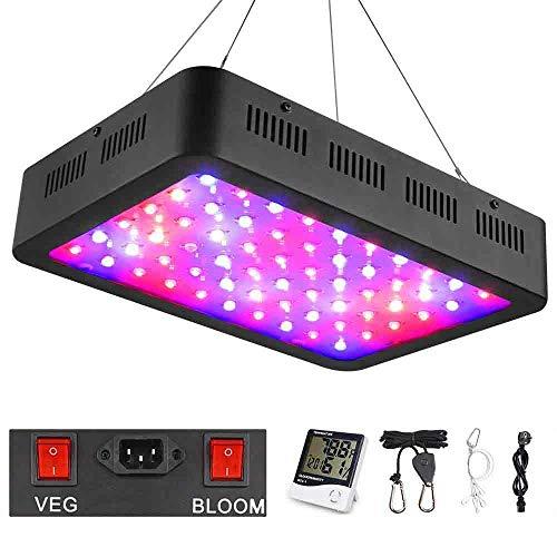 WAKYME 600W LED Crece La Luz de Planta, Luz de Planta de Doble Interruptor de Espectro Completo Ajustable con Termómetro Monitor y Humedad para Plantas de Interior Vegetales y Flores
