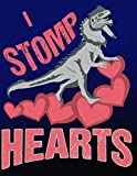 I Stomp Hearts: Fun Dilophosaurus Dinosaur Wide Ruled Book For General Studies And Note Taking
