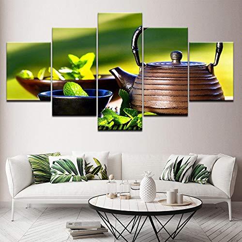 Canvas foto 5-delig HD muurschildering Chinees en modern, modulair canvas, groene thee, foto NO Frame 40x60 40x80 40x100cm