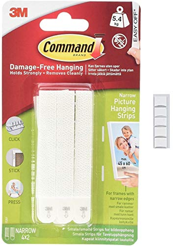 Command 17207 Narrow Picture Hanging Strips, 4 Pairs - White with Scotch mounting Putty