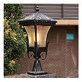 Lámpara de Jardín Luz Del Pilar Luces De Poste Solares LED Jardín Al Aire Libre Impermeable Cuadrado Negro Lámpara De Tapa De Poste De Paisaje Para Postes De Madera, Cubierta, Patio