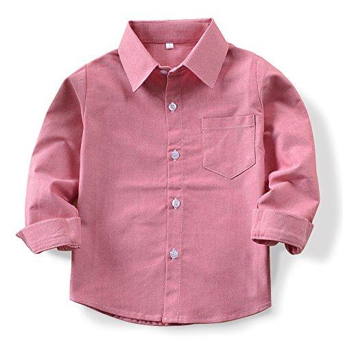 OCHENTA Boys' Oxford Shirt, Long Sleeve Button Down Dress Tops for Little Big Kids Pink Tag 130CM - 5-6X