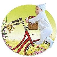 洗濯機で洗えるラウンドエリアラグ屋内ウルトラソフトベッドルームフロアソファリビングルーム寮小さな円形カーペット2.6フィート、ロマンチックな夏のハイキング赤い自転車