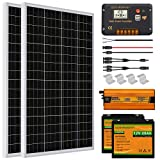 ECO-WORTHY 240W 1KWH/Day 12V Off Grid Complete Solar Power System Kit with Battery&Inverter: 120W Solar Panel+30A LCD Charge Controller+ 20AH 12V Lithium Battery +600W Inverter for Motorhome RV