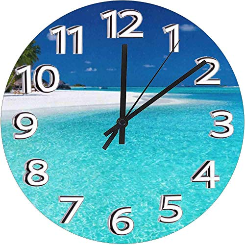 Mesllings 15 Inch Round Wooden Wall Clock, l Palm Trees White Beach Summer,Silent Non-Ticking Quality Quartz Battery Operated Wall Clocks Vintage Rustic Country Wooden Home Decor Round