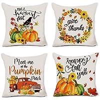 4-Pack Hexagram Fall Pumpkin Pillow Covers